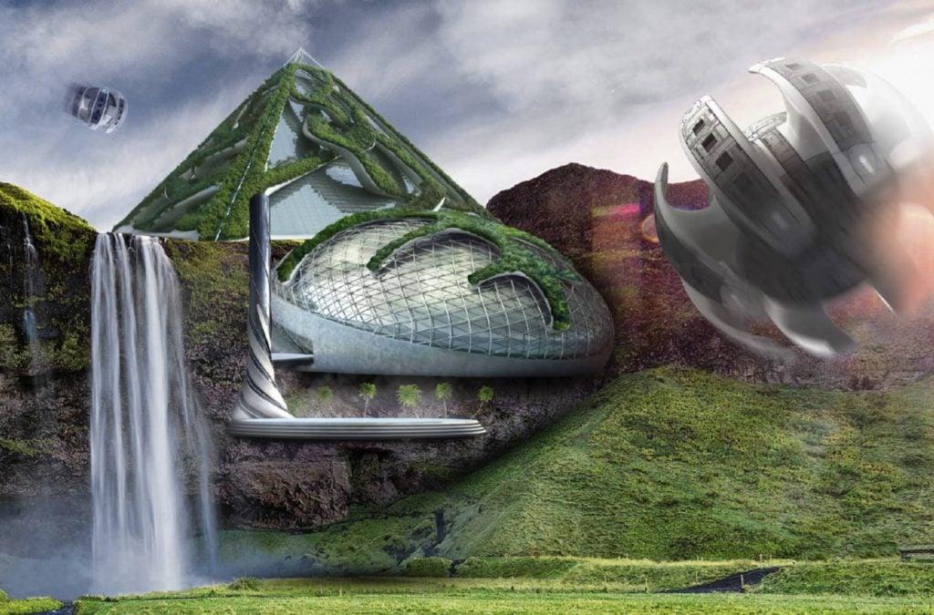 Autonome Reisekapseln werden die Gäste an faszinierenden Orten bringen, während Miniatur-Ökosysteme, die durch blasenartige Strukturen vor den Einflüssen der Witterung geschützt sind, die Umgebung widerspiegeln. (Bild: Hilton)